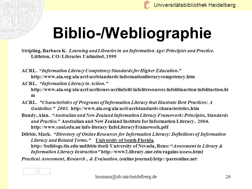 Biblio-/Webliographie