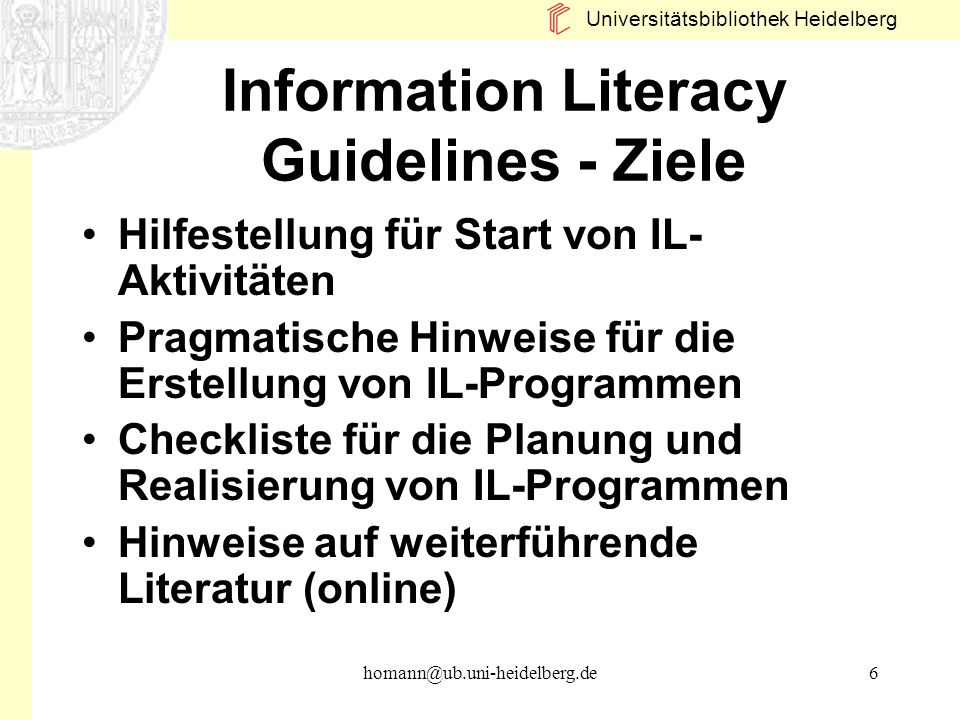 Information Literacy Guidelines - Ziele