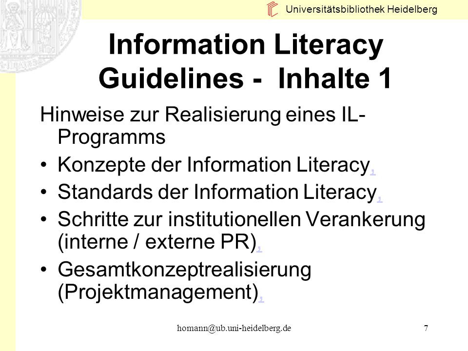 Information Literacy Guidelines - Inhalte 1