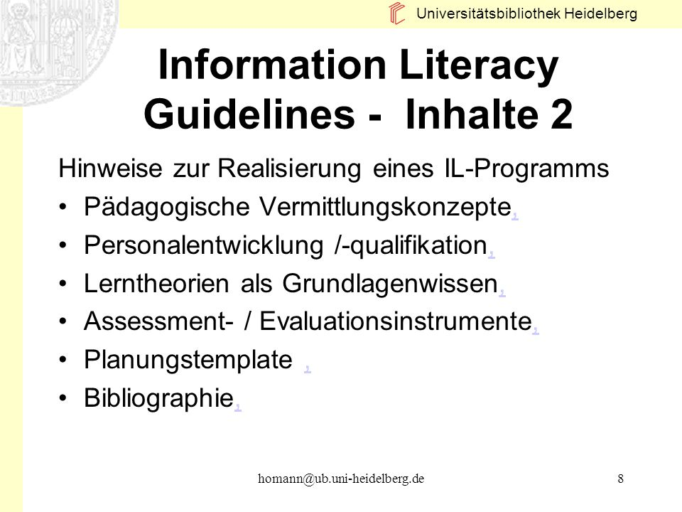 Information Literacy Guidelines - Inhalte 2