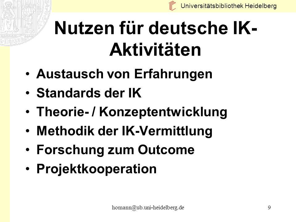 Nutzen für deutsche IK-Aktivitäten