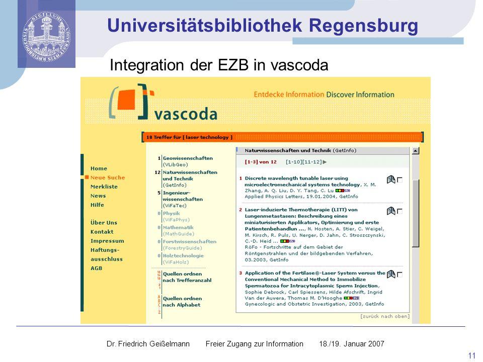 Integration der EZB in vascoda