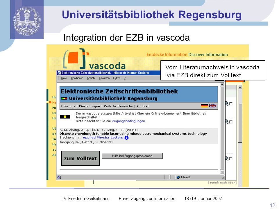 Integration der EZB in vascoda