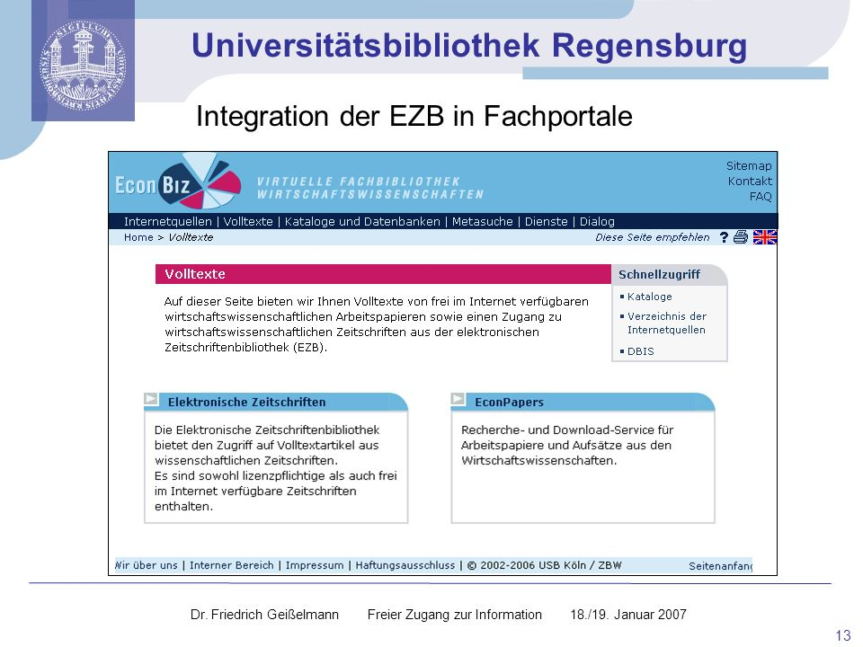 Integration der EZB in Fachportale