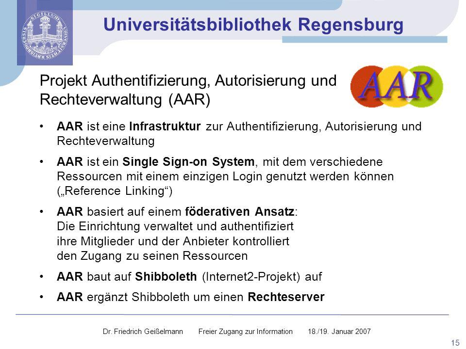 Projekt Authentifizierung, Autorisierung und Rechteverwaltung (AAR)