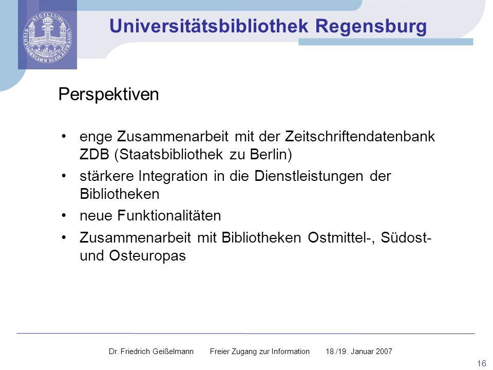 Perspektiven enge Zusammenarbeit mit der Zeitschriftendatenbank ZDB (Staatsbibliothek zu Berlin)