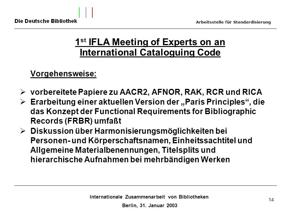 Vorgehensweise: 1st IFLA Meeting of Experts on an