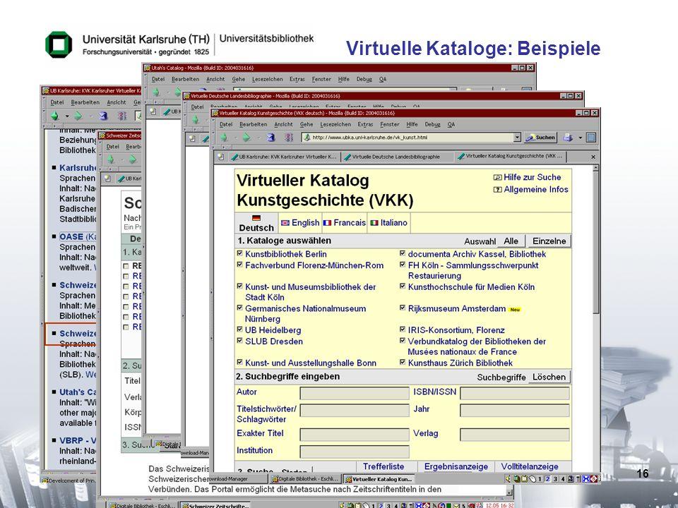 Virtuelle Kataloge: Beispiele