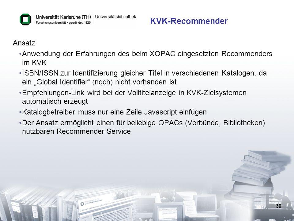 KVK-Recommender Ansatz