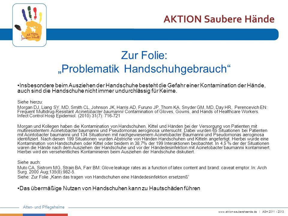 """Zur Folie: """"Problematik Handschuhgebrauch"""