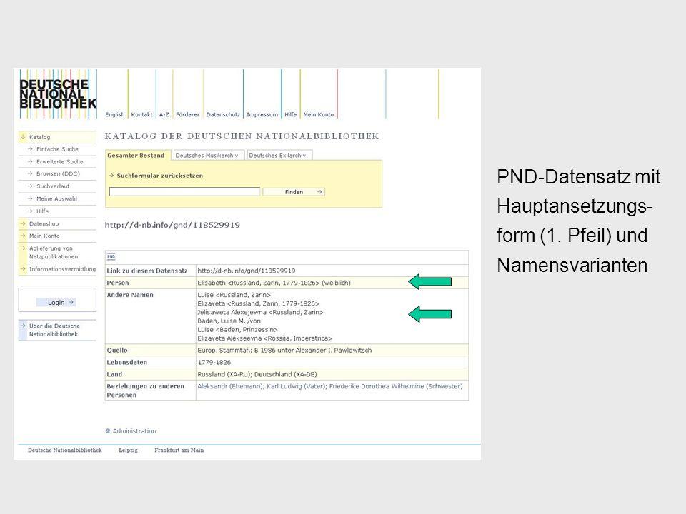PND-Datensatz mit Hauptansetzungs- form (1. Pfeil) und Namensvarianten