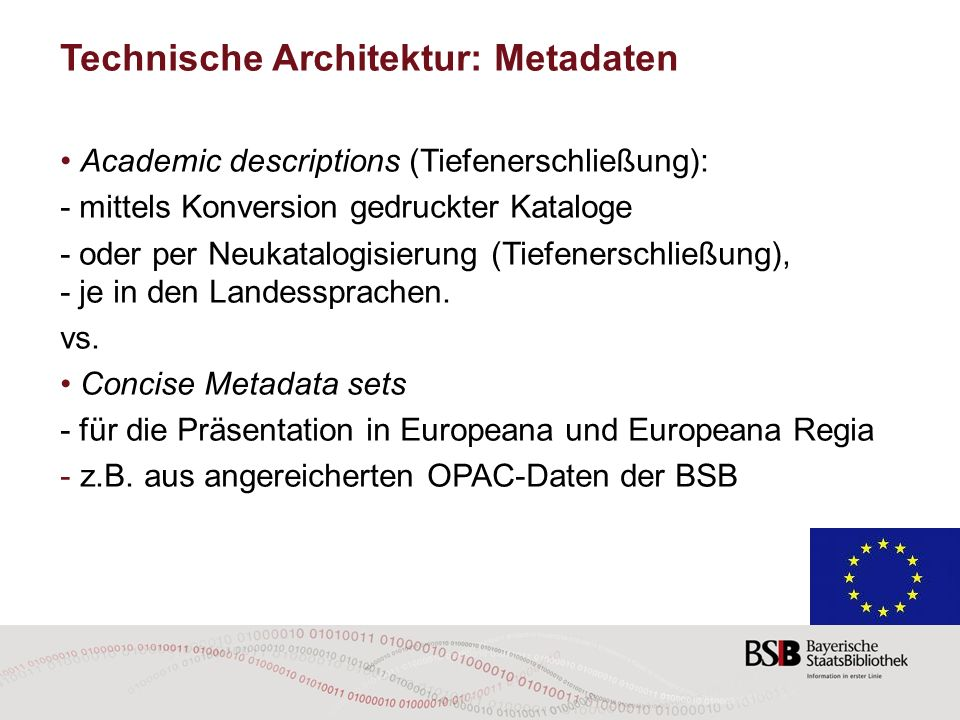 Technische Architektur: Metadaten