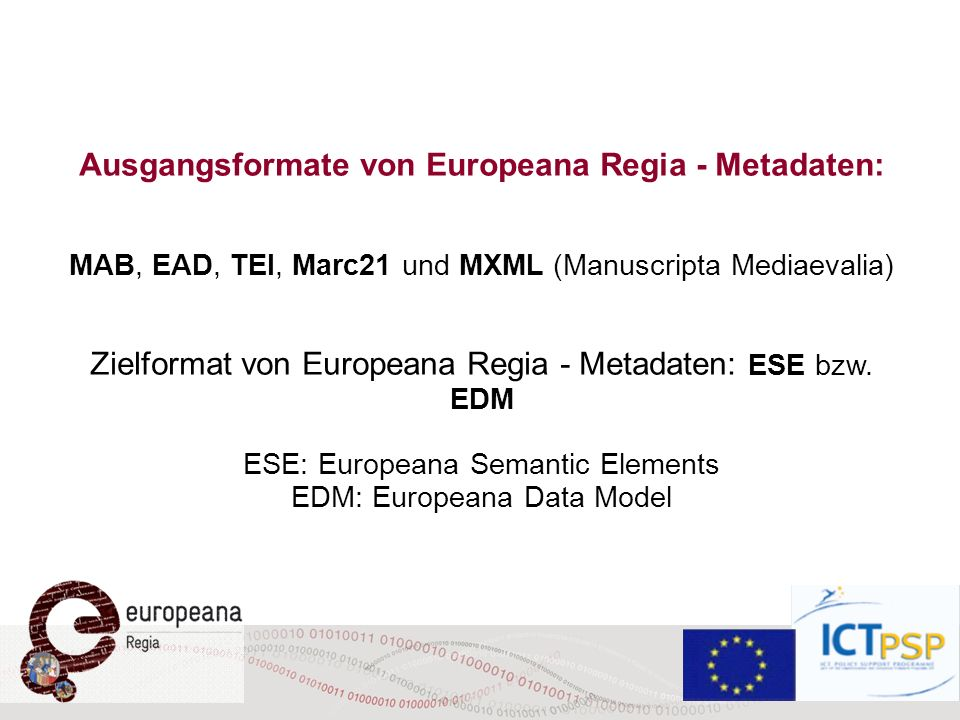 Ausgangsformate von Europeana Regia - Metadaten: