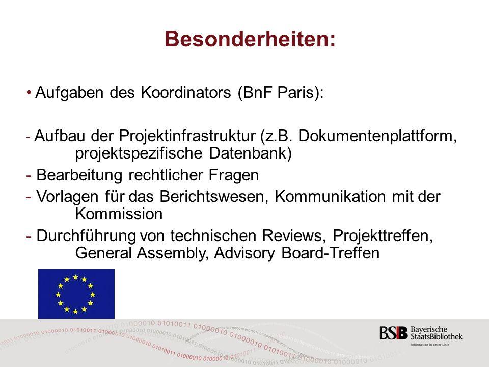 Besonderheiten: Aufgaben des Koordinators (BnF Paris):
