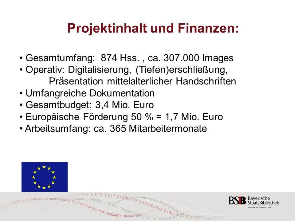 Projektinhalt und Finanzen: