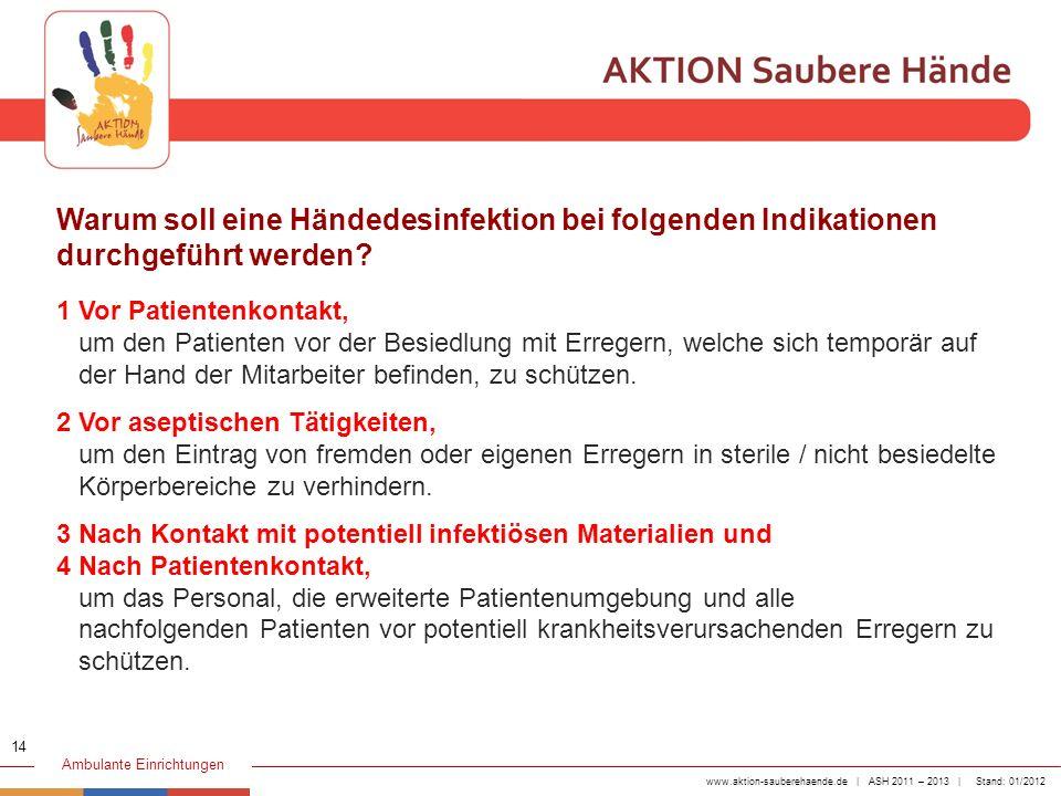 Warum soll eine Händedesinfektion bei folgenden Indikationen durchgeführt werden