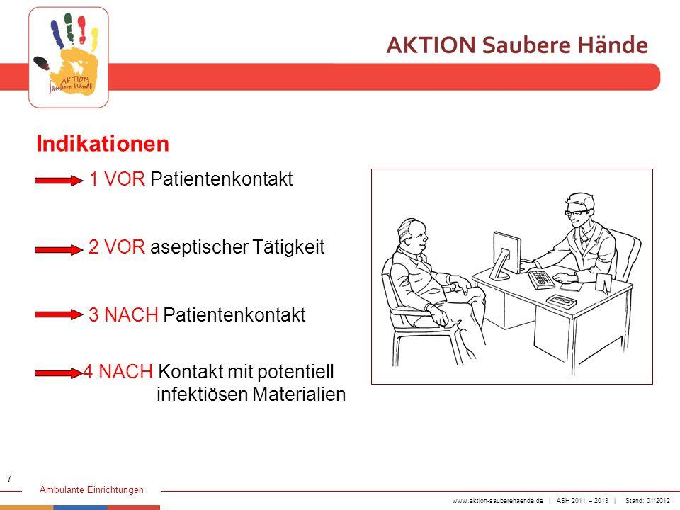 Indikationen 1 VOR Patientenkontakt 2 VOR aseptischer Tätigkeit