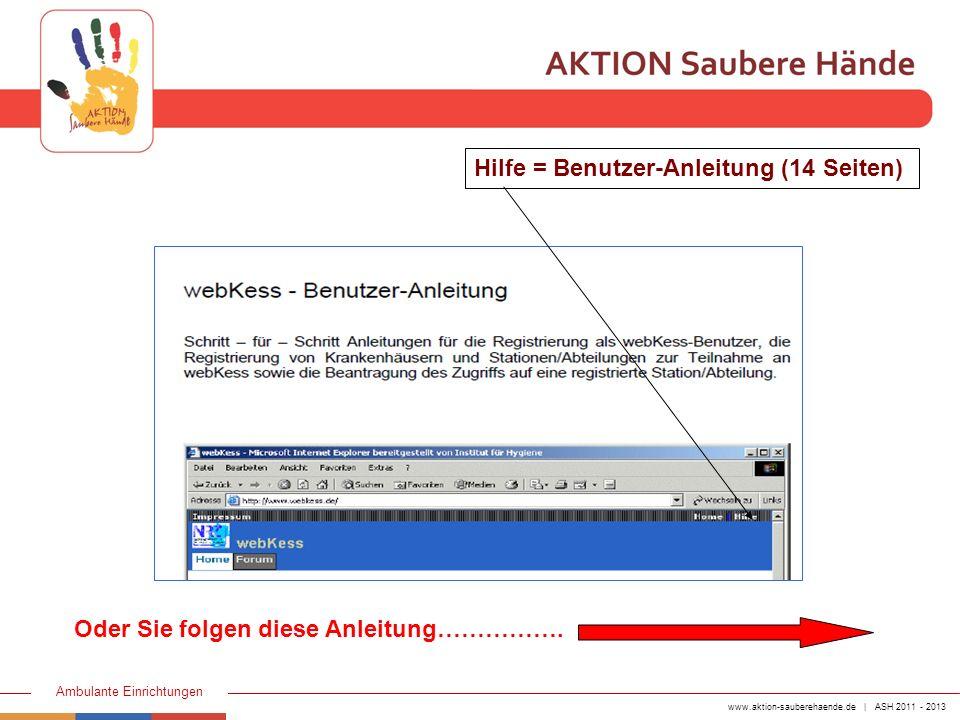 Hilfe = Benutzer-Anleitung (14 Seiten)