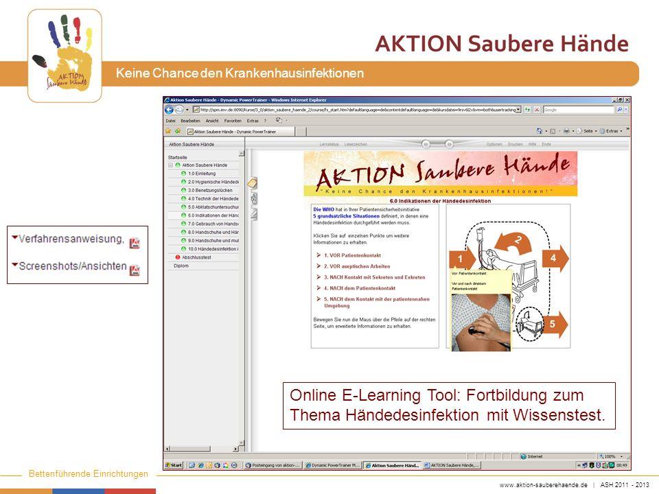 Online E-Learning Tool: Fortbildung zum Thema Händedesinfektion mit Wissenstest.