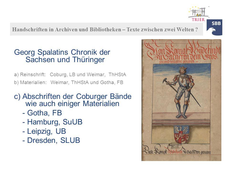 Georg Spalatins Chronik der Sachsen und Thüringer