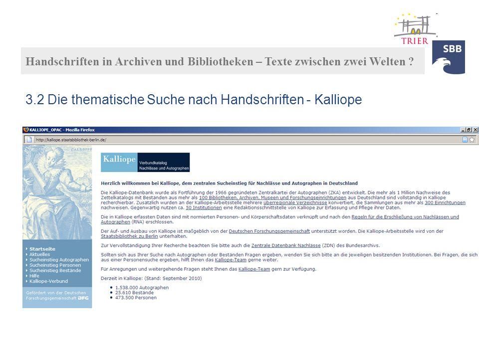 3.2 Die thematische Suche nach Handschriften - Kalliope