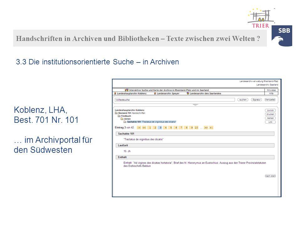 Koblenz, LHA, Best. 701 Nr. 101 … im Archivportal für den Südwesten