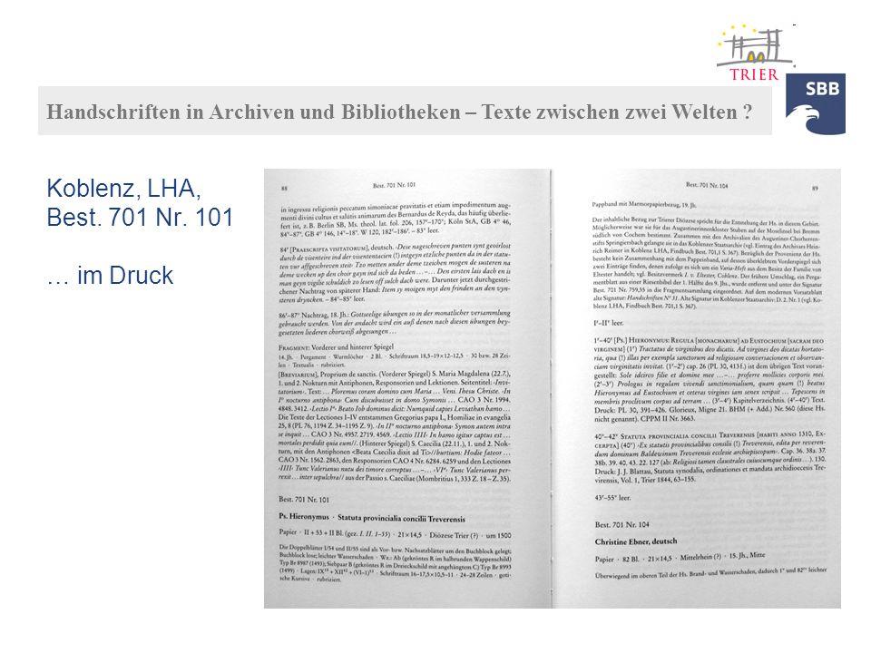 Koblenz, LHA, Best. 701 Nr. 101 … im Druck