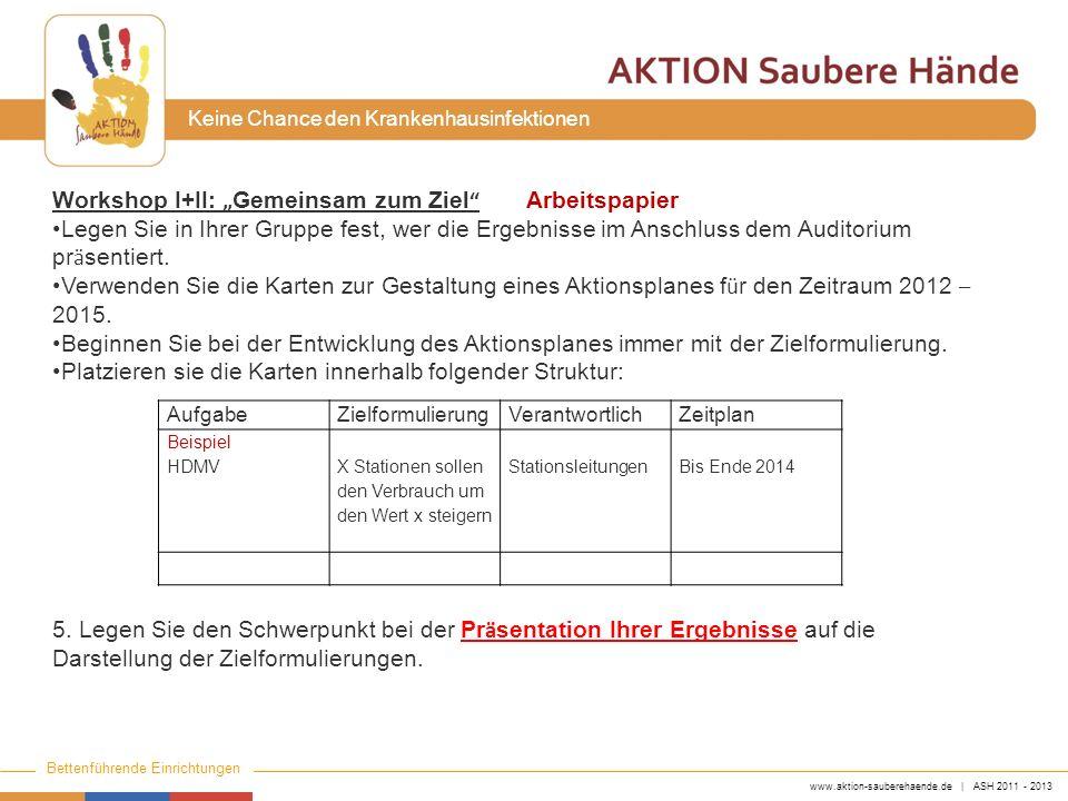 """Workshop I+II: """"Gemeinsam zum Ziel Arbeitspapier"""