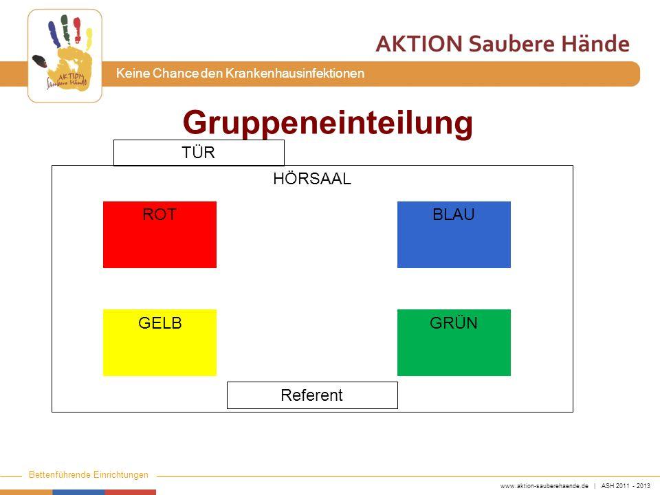 Gruppeneinteilung TÜR HÖRSAAL ROT BLAU GELB GRÜN Referent