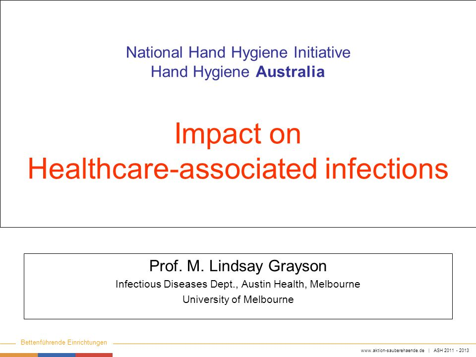 National Hand Hygiene Initiative Hand Hygiene Australia Impact on Healthcare-associated infections