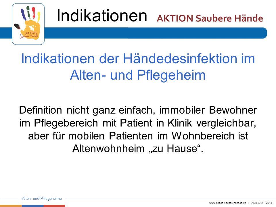 Indikationen der Händedesinfektion im Alten- und Pflegeheim