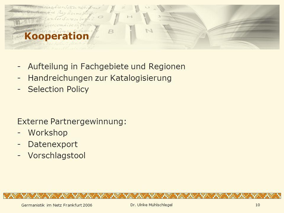 Kooperation Aufteilung in Fachgebiete und Regionen