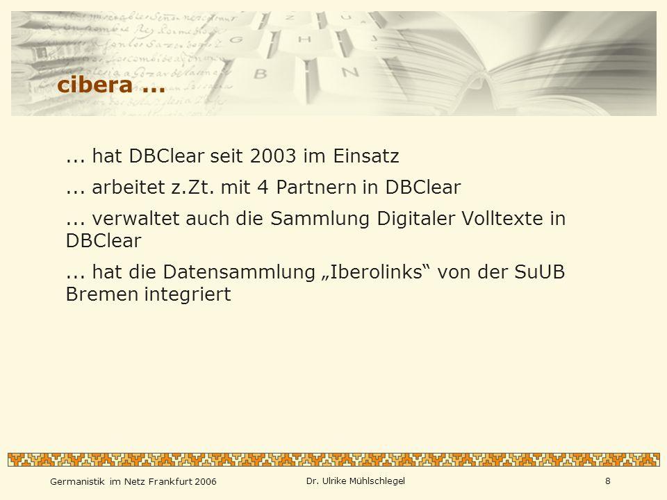 cibera ... ... arbeitet z.Zt. mit 4 Partnern in DBClear