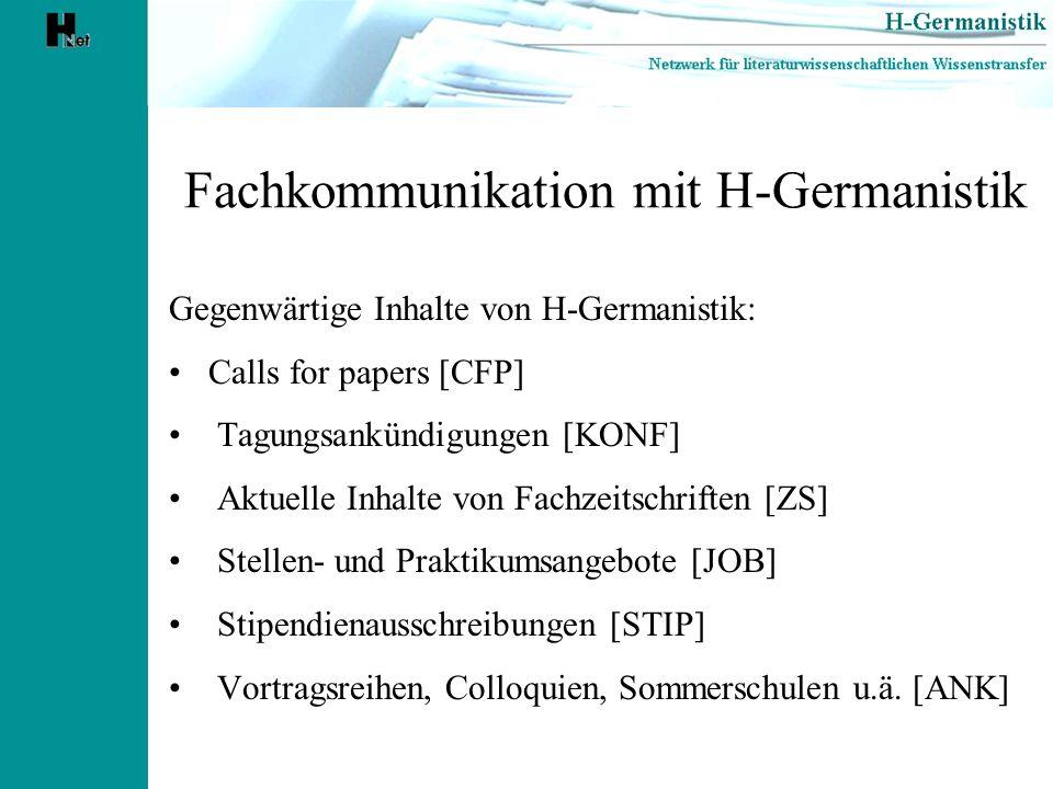 Fachkommunikation mit H-Germanistik