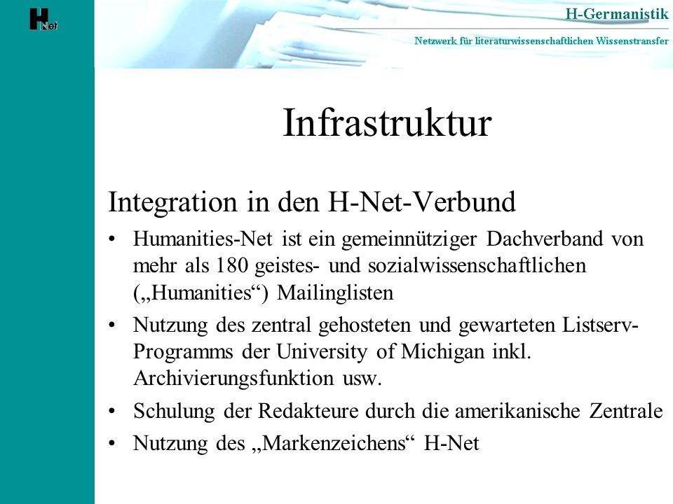 Infrastruktur Integration in den H-Net-Verbund