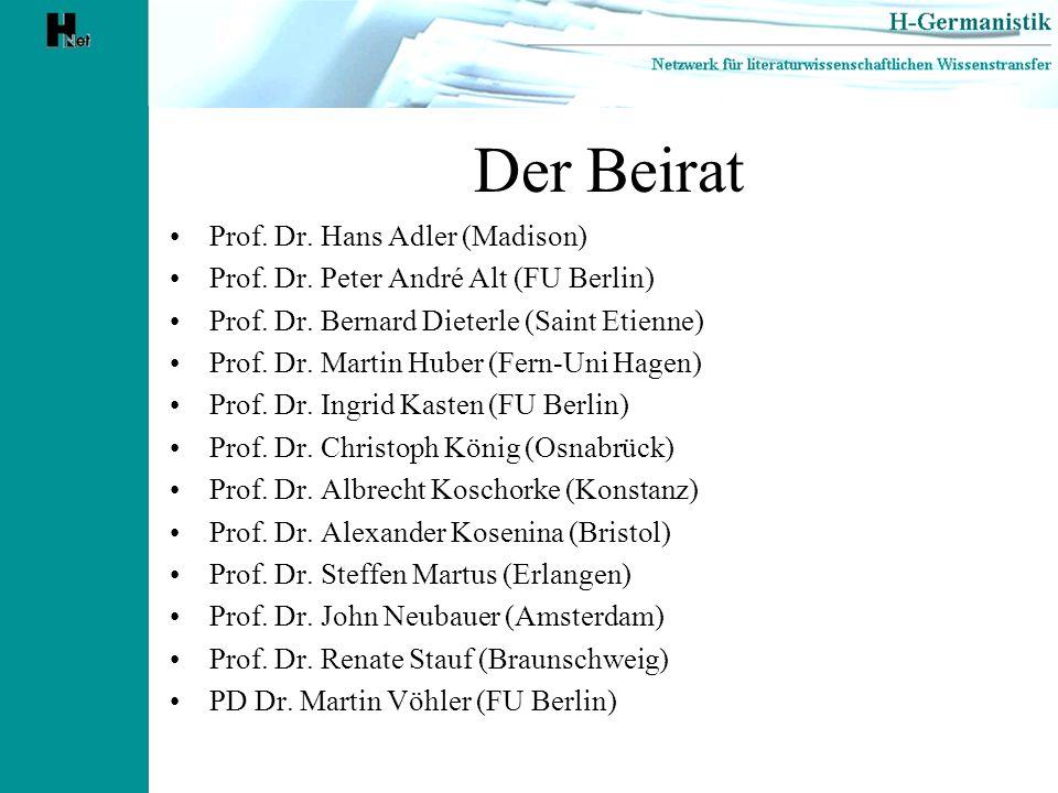 Der Beirat Prof. Dr. Hans Adler (Madison)