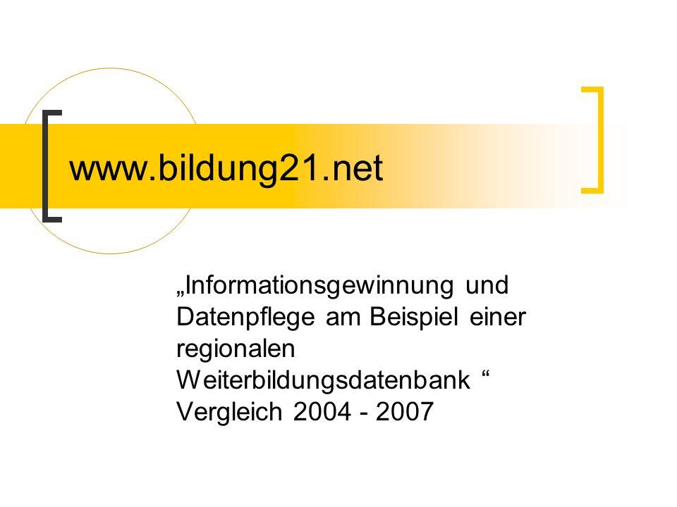 """www.bildung21.net """"Informationsgewinnung und Datenpflege am Beispiel einer regionalen Weiterbildungsdatenbank Vergleich 2004 - 2007."""