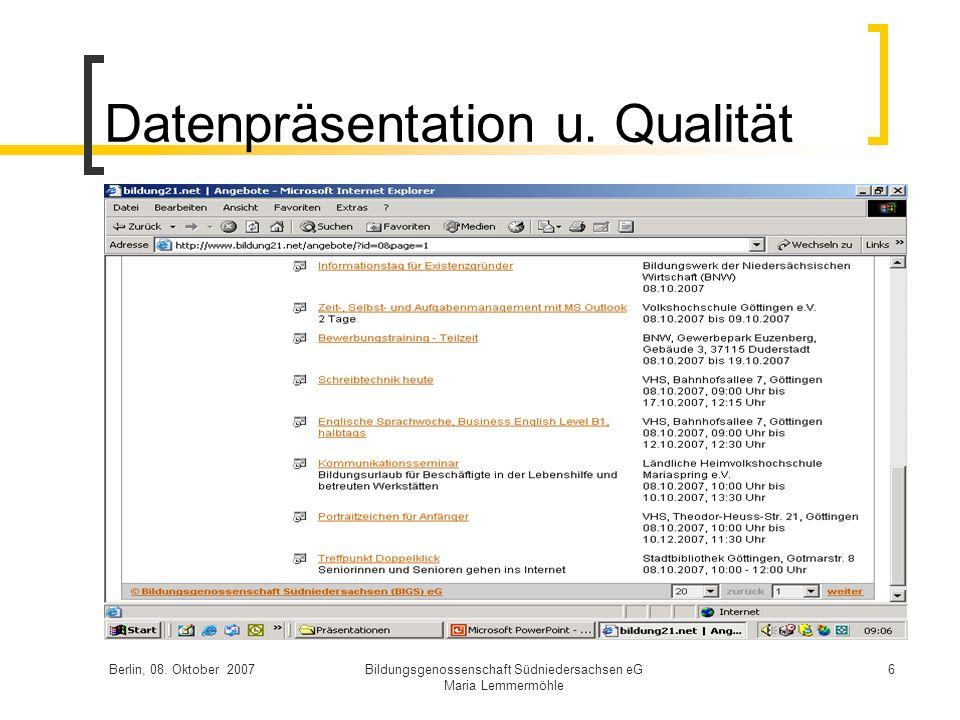 Datenpräsentation u. Qualität