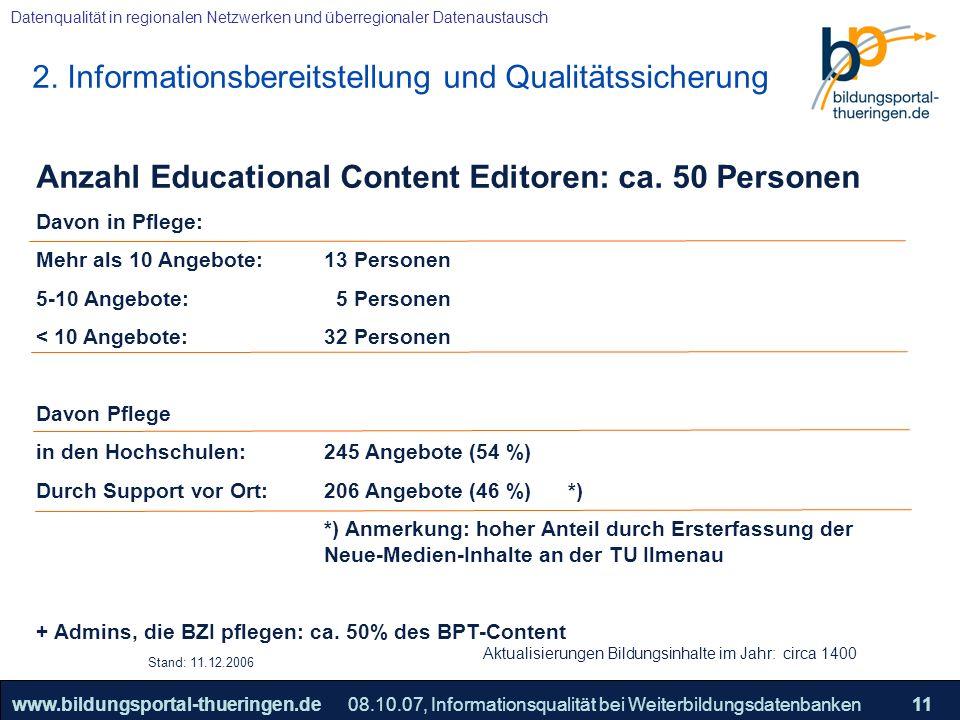 2. Informationsbereitstellung und Qualitätssicherung