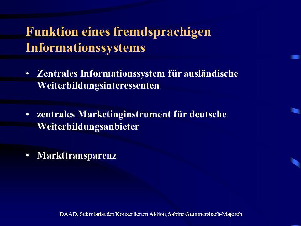 Funktion eines fremdsprachigen Informationssystems