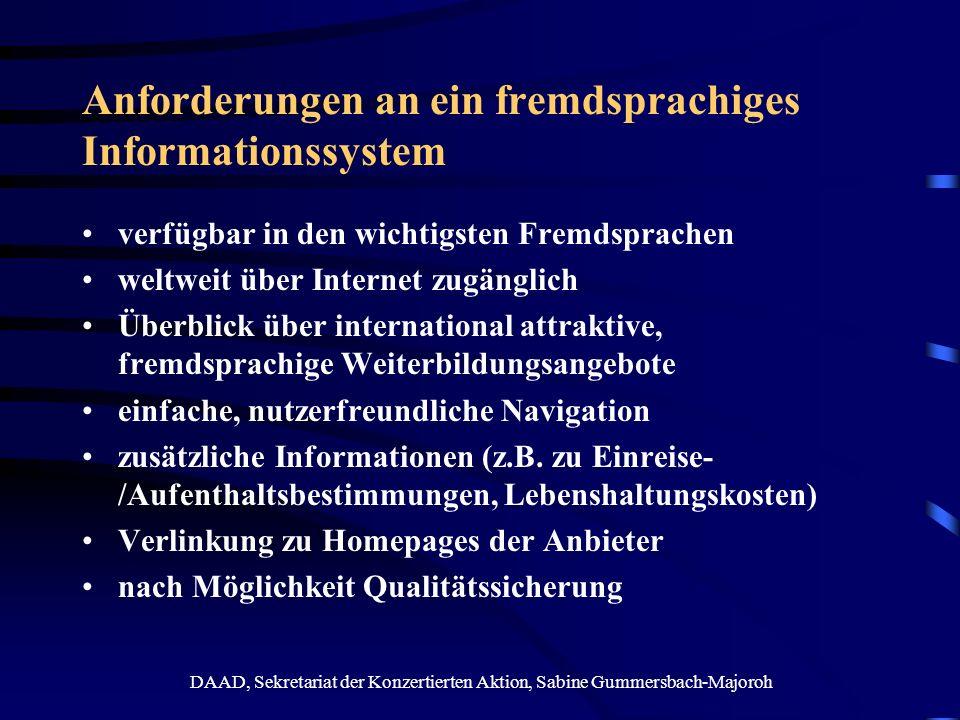 Anforderungen an ein fremdsprachiges Informationssystem