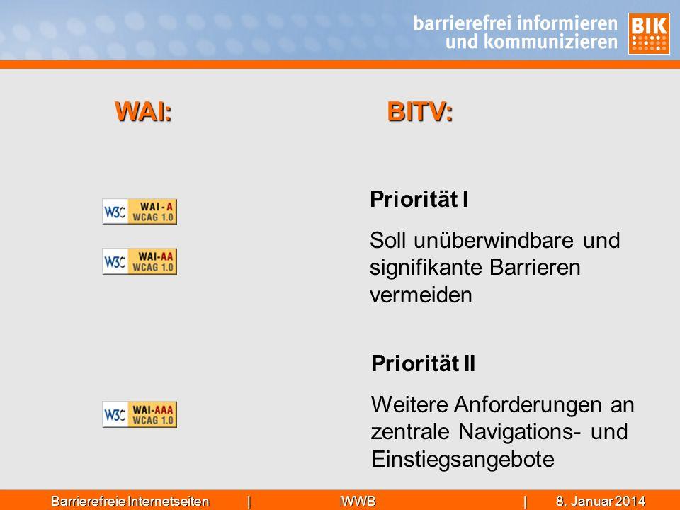 WAI: BITV: Priorität I. Soll unüberwindbare und signifikante Barrieren vermeiden. Hinweis: Section 508 (ebenfalls nur 2 Stufen) == BITV.