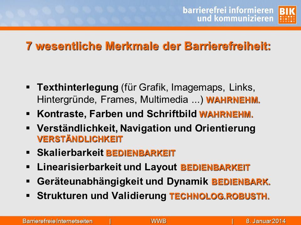 7 wesentliche Merkmale der Barrierefreiheit: