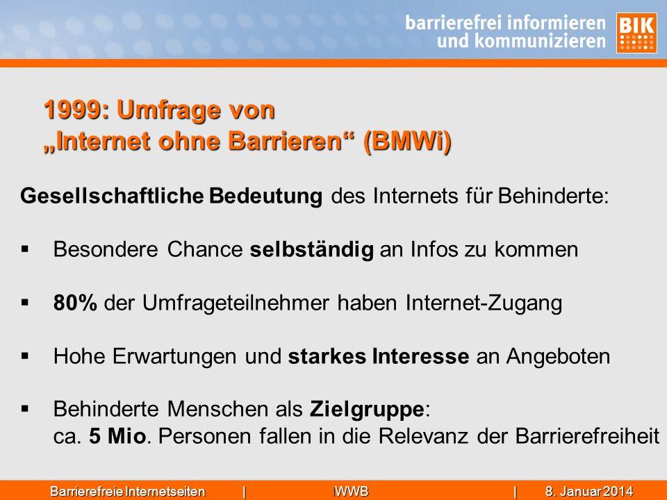 """1999: Umfrage von """"Internet ohne Barrieren (BMWi)"""