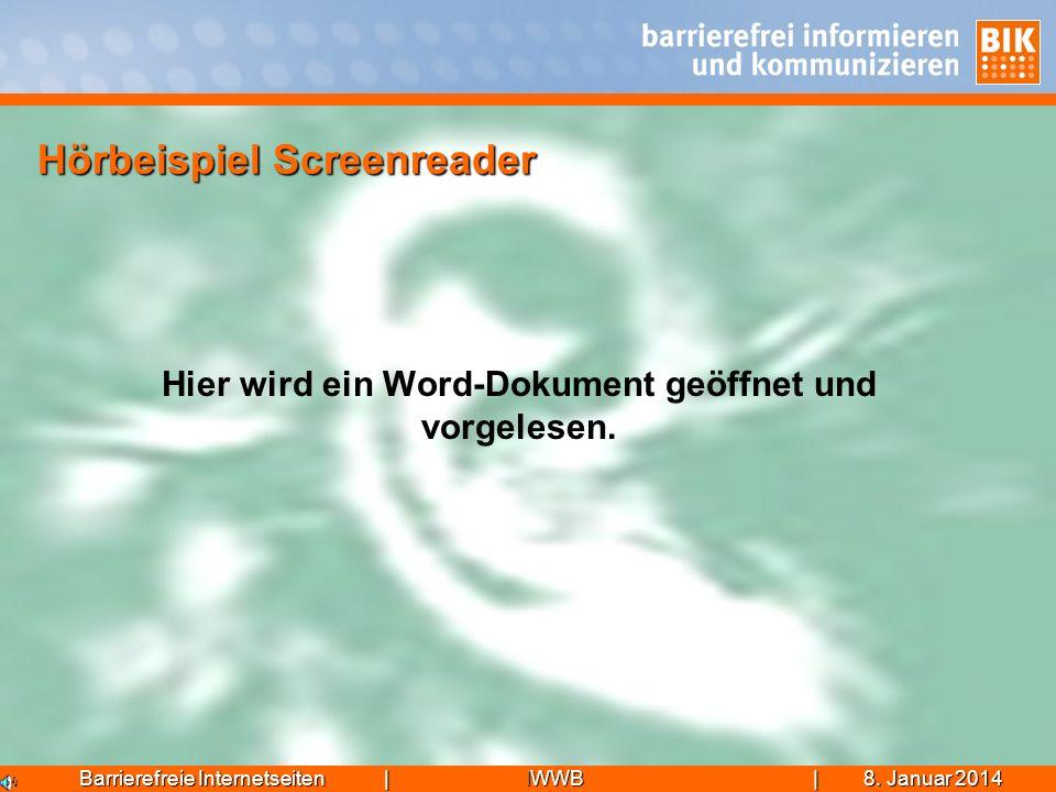 Hörbeispiel Screenreader