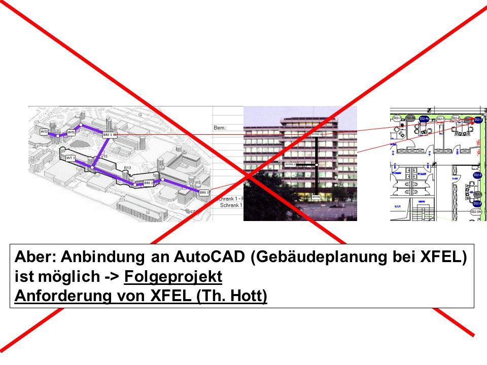 Aber: Anbindung an AutoCAD (Gebäudeplanung bei XFEL)