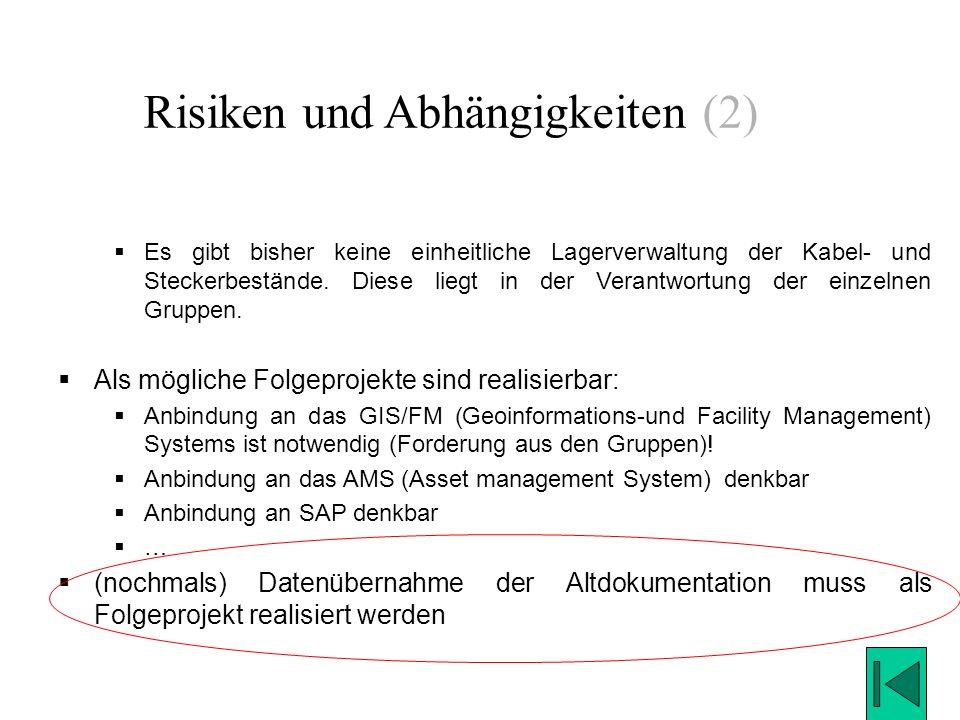 Risiken und Abhängigkeiten (2)