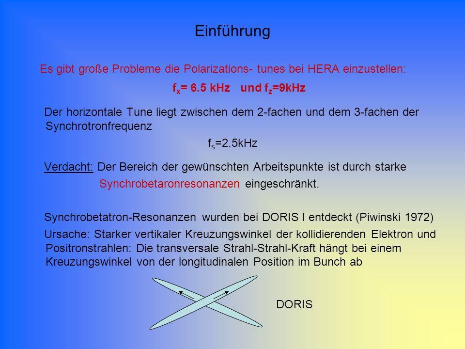 Es gibt große Probleme die Polarizations- tunes bei HERA einzustellen: