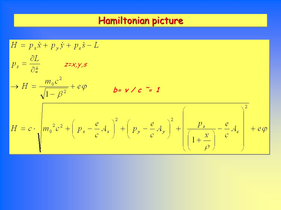 Hamiltonian picture z=x,y,s b= v / c ˜= 1