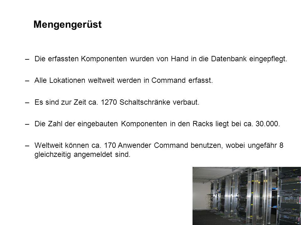 Mengengerüst Die erfassten Komponenten wurden von Hand in die Datenbank eingepflegt. Alle Lokationen weltweit werden in Command erfasst.